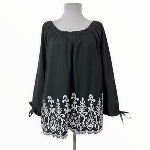 Time & Tru NEW Blouse Off Shoulder Embroidered XXL